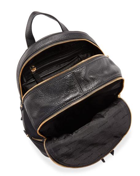 Rhea Small Zip Backpack, Black
