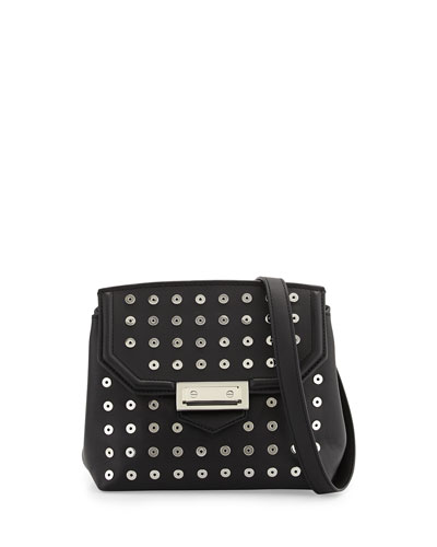 Marion Leather Crossbody Bag w/Eyelets, Black