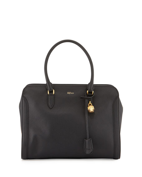 Alexander McQueen Medium Padlock Satchel Bag, Black