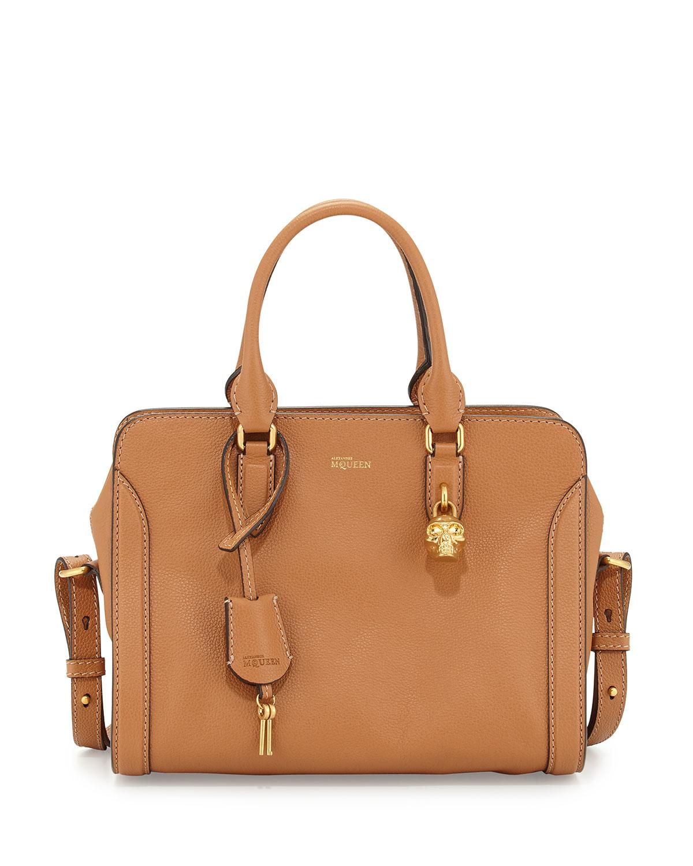 cb3abfb0898 Alexander McQueen Small Padlock Satchel Bag, Camel   Neiman Marcus