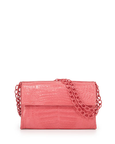 Medium Crocodile Flap Shoulder Bag, Pink Matte