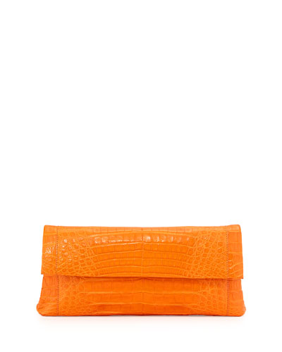 Crocodile Flap Clutch Bag, Orange Matte