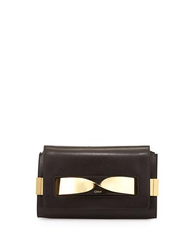 Elle Medium Chain Clutch Bag, Black