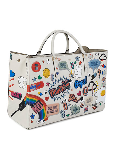 anya hindmarch ebury sticker print leather tote bag. Black Bedroom Furniture Sets. Home Design Ideas