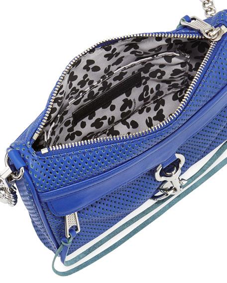 Perforated Mini M.A.C. Crossbody Bag, Majorca Blue