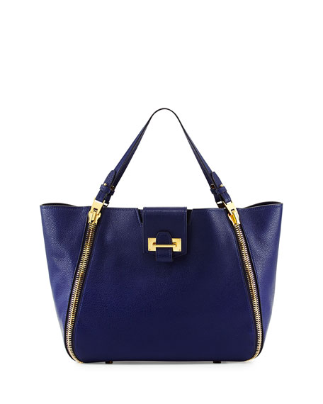 TOM FORD Sedgwick Double-Zip Leather Tote Bag, Cobalt