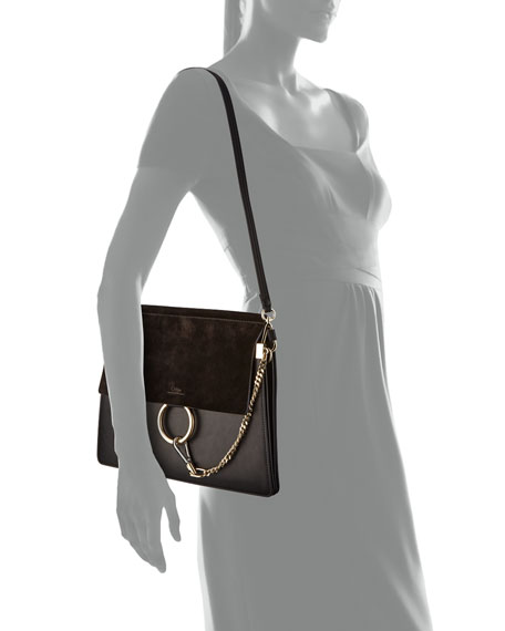 Image 3 of 3: Chloe Faye Suede-Flap Shoulder Bag