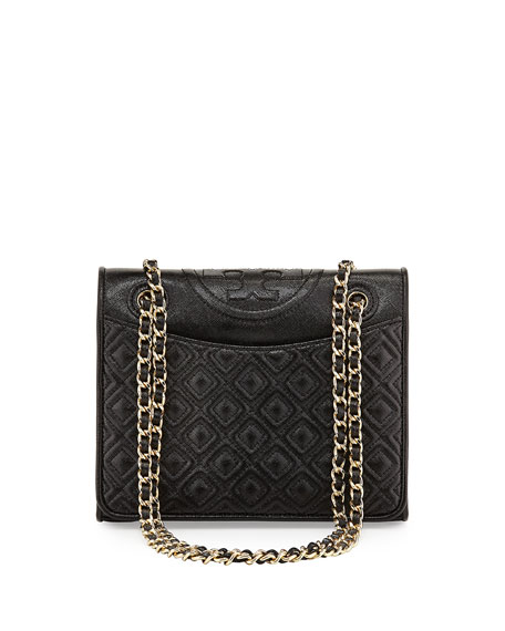 Fleming Medium Quilted Saffiano Leather Bag, Black