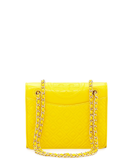 Fleming Quilted Medium Flap Shoulder Bag, Reptile Yellow