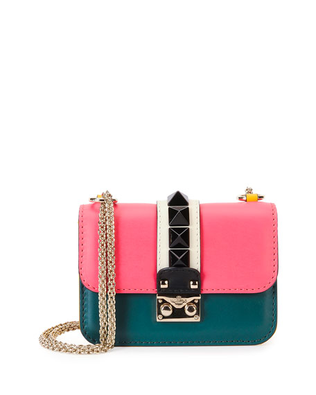 Colorblock Small Rockstud-Trim Flap Bag, Pink/Teal/Yellow