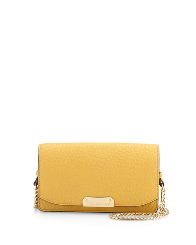Grained Leather Crossbody Bag, Saffron Yellow