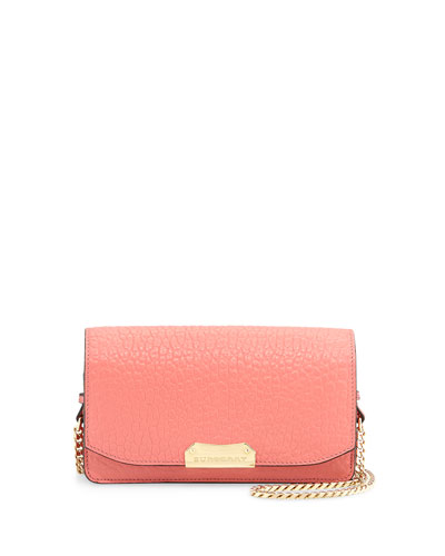 Grained Leather Crossbody Bag, Rose Pink