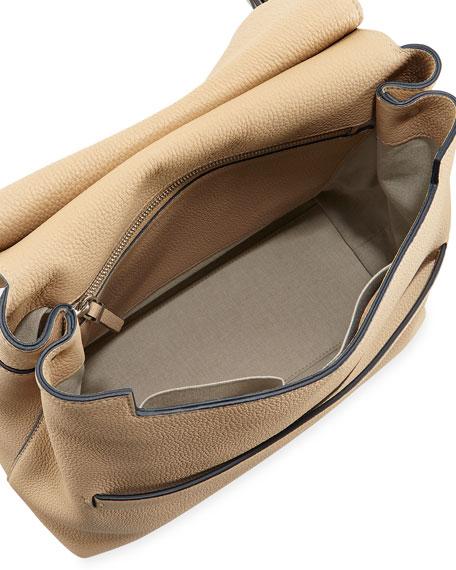 THE ROW Sideby Pebbled Calfskin Crossbody Bag, Beige