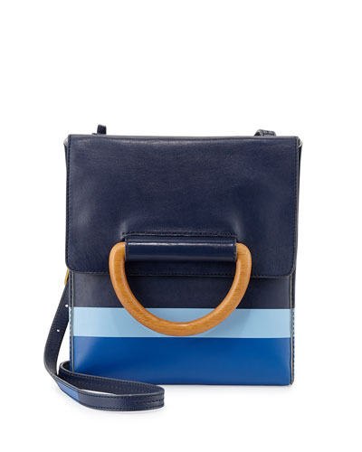 Dipped Leather Crossbody Bag, Tory Navy