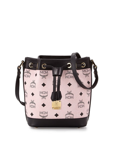 Heritage Drawstring Mini Bucket Bag, Chalk Pink