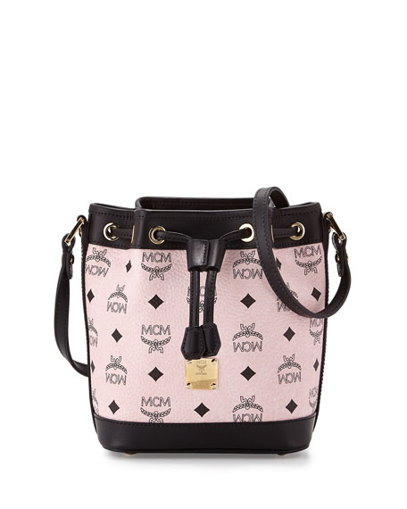 MCM Heritage Drawstring Mini Bucket Bag, Chalk Pink