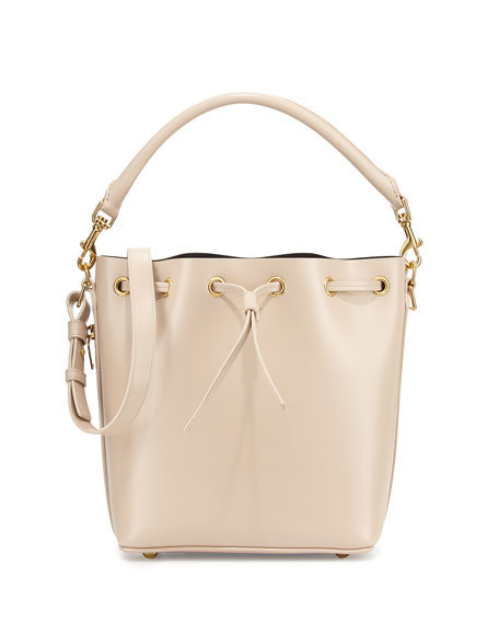 Saint Laurent Double-Face Medium Bucket Bag, Ivory/Black