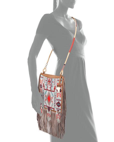 Beaded Fringe Crossbody Bag, Brown/Multi