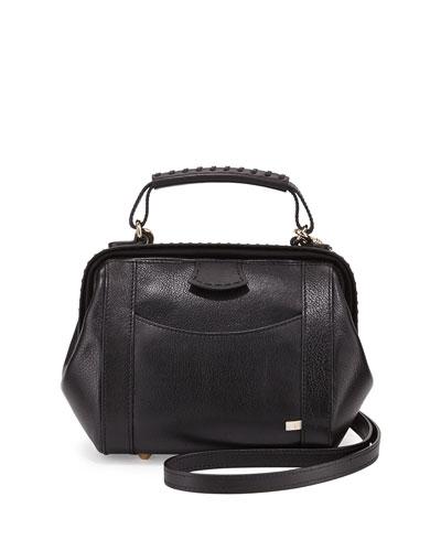 Waverly Hinged Satchel Bag, Black