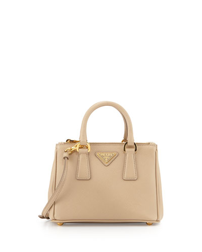 Saffiano Mini Galleria Crossbody Bag, Beige (Sabbia)