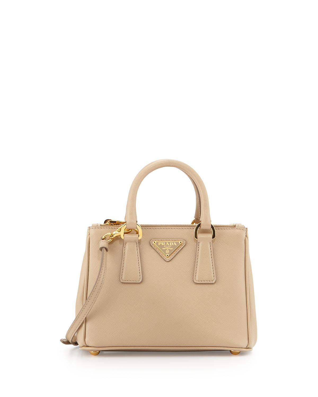 57a781ec7981b4 Prada Saffiano Mini Galleria Crossbody Bag, Beige (Sabbia) | Neiman ...