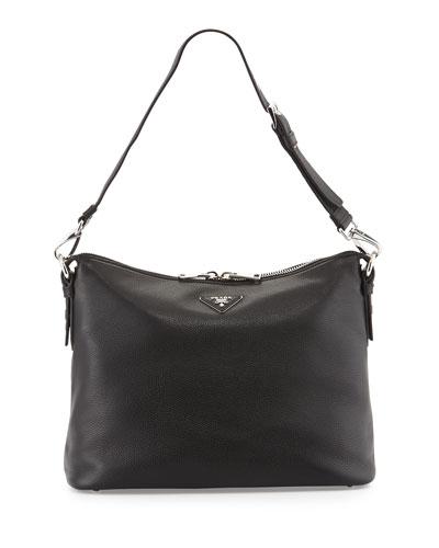 North-South Large Hobo Bag, Black (Nero)