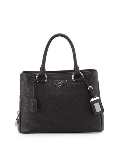 East-West Medium Satchel Bag, Black (Nero)