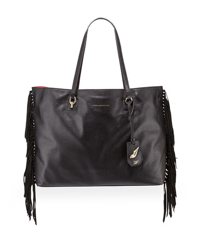 Ready to Go Large Leather Fringe Tote Bag, Black