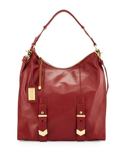 Helena Leather Hobo Bag, Wine