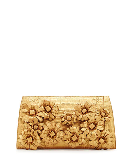 Slicer Crocodile Flower-Applique Clutch Bag, Gold Matte