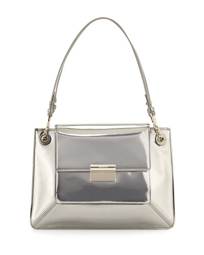 Christy Leather Shoulder Bag, Silver