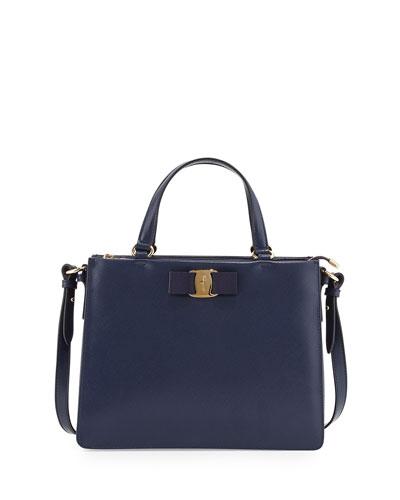 Tracy Vara Saffiano Tote Bag, Oxford Blue