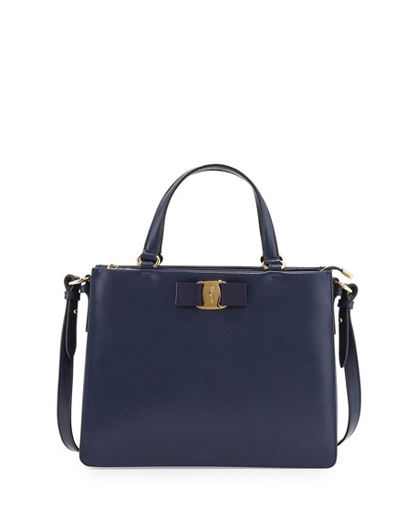 Salvatore Ferragamo Tracy Vara Saffiano Tote Bag, Oxford Blue