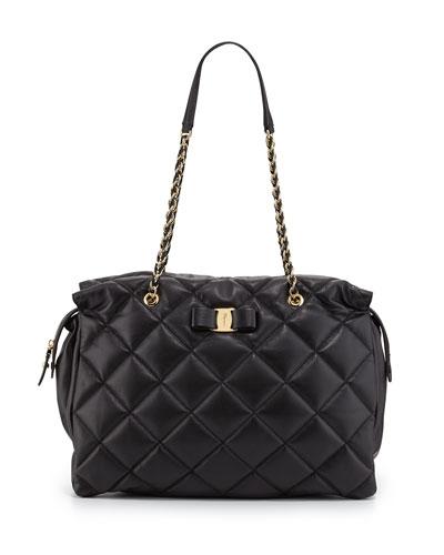 Ginette Vara Soft Quilted Shoulder Bag, Nero