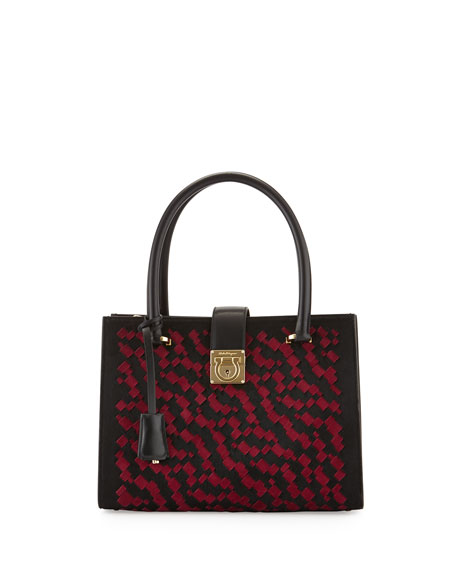 Salvatore Ferragamo Juliette Interwoven Tote Bag, Pony/Nero