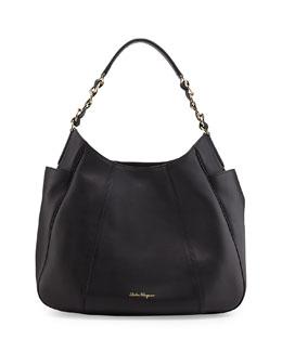 Elle Gancini-Chain Leather Hobo Bag, Nero