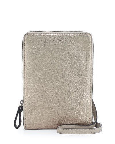 Metallic Leather Crossbody Bag, Gold