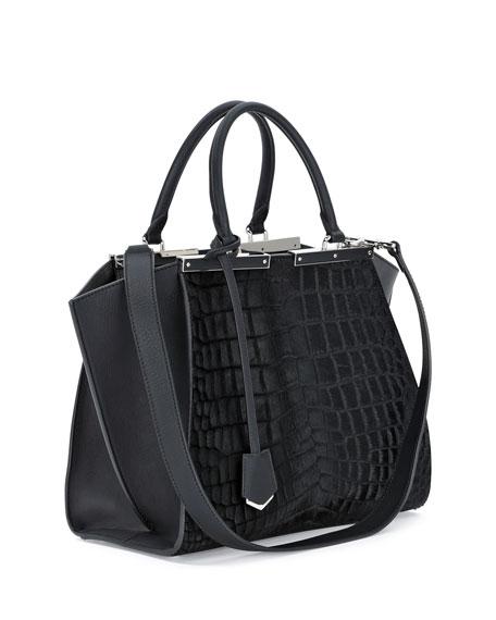3 Jours Petite Croc-Embossed Calf Hair Satchel Bag, Black