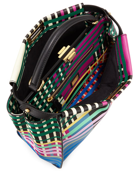 Peekaboo Large Printed Satchel Bag, Multicolor