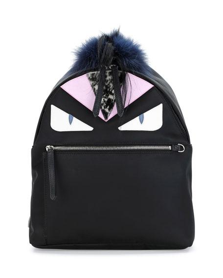 Monster Fur Backpack, Black Multi