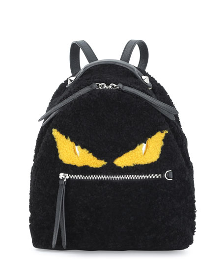 Fendi Mini Monster Shearling Fur Backpack, Black