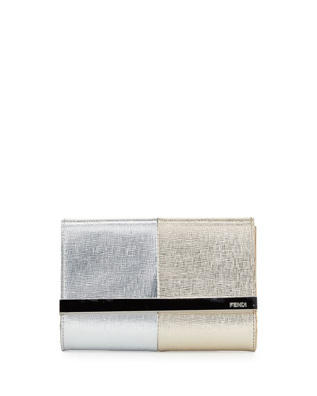 Fendi Rush Mini Metallic Clutch Bag, Silver/Champagne