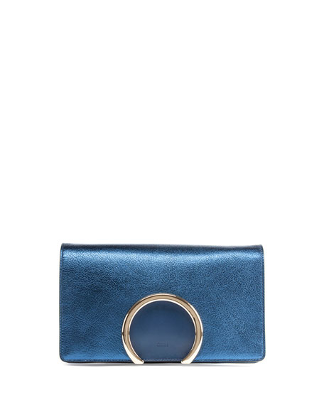 Gabrielle Metallic Clutch Bag, Blue