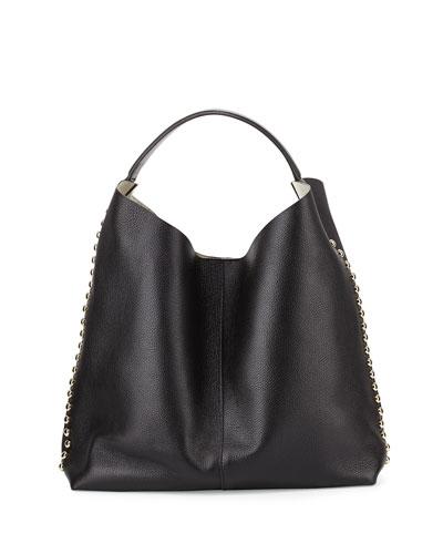 Stud-Trim Leather Hobo Bag, Black/Light Gold