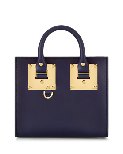 Leather Box Tote Bag, French Navy