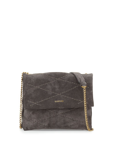 Mini Sugar Suede Shoulder Bag, Gray