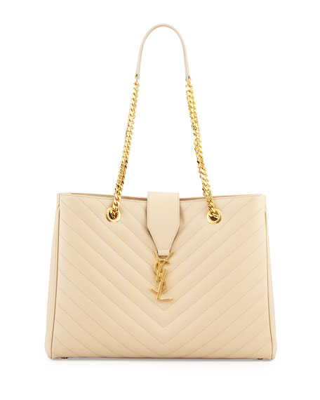 Chevron-Quilted Leather Shoulder Tote Bag, Poudre
