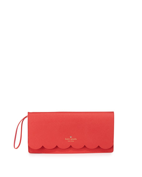 lily avenue kiki scalloped clutch bag, geranium