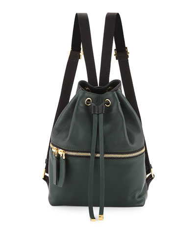Zaino Two-Tone Leather Backpack, Dark Green/Black