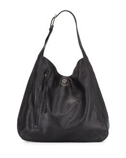 Brody Pebbled Leather Hobo Bag, Black